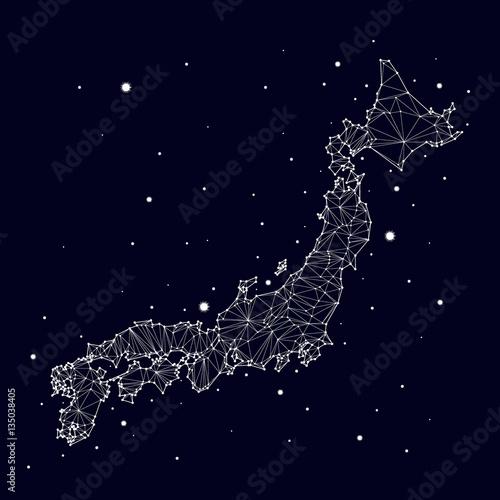 Plakat Mapa wektorowa konstelacji Japonii