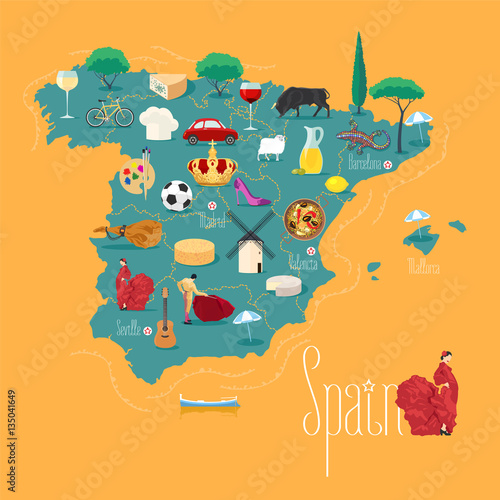 Map of Spain vector illustration, design Canvas Print