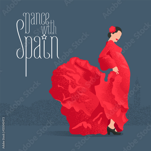 Photo  Flamenco dancer in red dress in visit Spain concept vector illustration