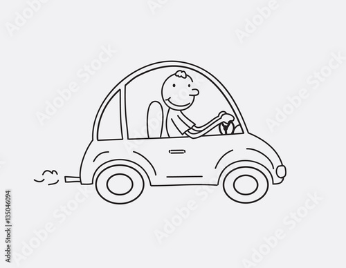 Staande foto Cartoon cars Happy smiling man in cartoon car, contour illustration