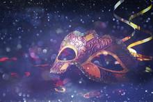 Elegant Venetian, Mardi Gras Mask On Glitter Background