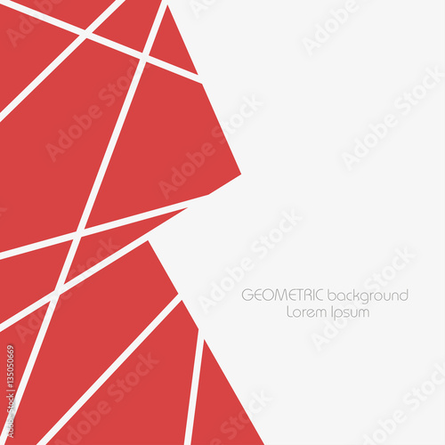 abstract geometric background with red polygons and triangles