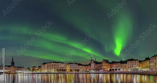 Fotobehang Stockholm Stockholm Gamla Stan Nacht Nordlicht