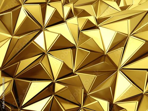 Zdjęcie XXL Złote tło z falami poligony trójkąty