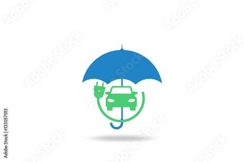 Elektroauto Kfz Versicherung Regenschirm Grunes Elektroauto