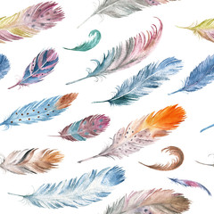 FototapetaColorful watercolor feathers pattern. Ethnic hand drawn motif