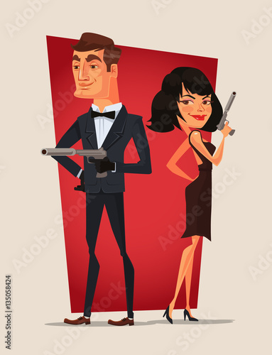 Spy couple characters. Vector flat cartoon illustration Canvas Print