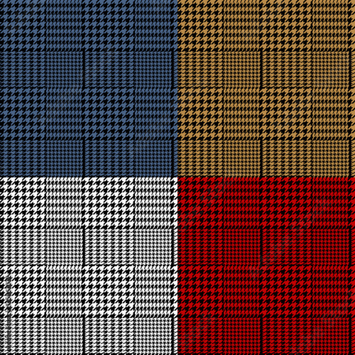 Photo  Houndstooth geometric plaid seamless pattern set, vector