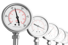 Row Of Pressure Gauge Manometers. 3d Rendering