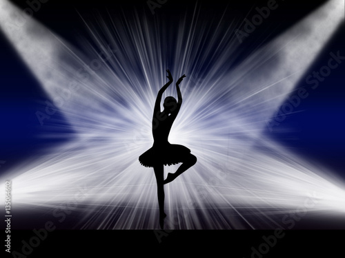 Photo  Ballet dancer silhouette performing ballet on the rich background light stage