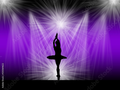 Photo  Ballerina silhouette performing ballet on the rich background light stage