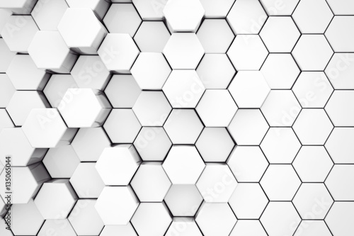 Fotografia Background of Metal White Hexagon. 3d Rendering