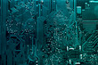 canvas print picture - Circuit board. Electronic computer hardware technology. Motherboard digital chip. Tech science background. Integrated communication processor. Information engineering component.