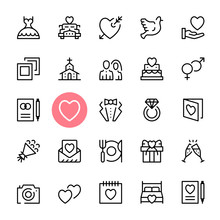 Vector Wedding Icons Set. Premium Quality Graphic Design. Marriage Concepts. Modern Signs, Trendy Symbols Collection, Simple Thin Line Icons Set For Websites, Web Design, Mobile App, Infographics