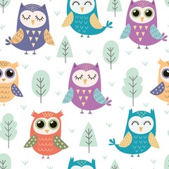 Fototapeta Do przedszkola Cute owls seamless pattern