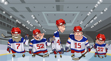 Cartoon Team With Five Funny H...