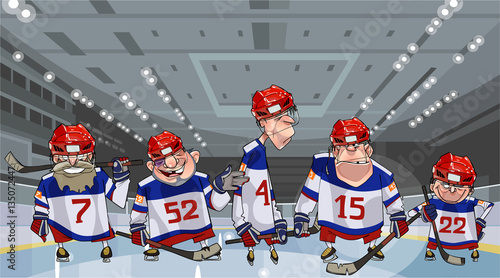 cartoon team with five funny hockey players on the ice