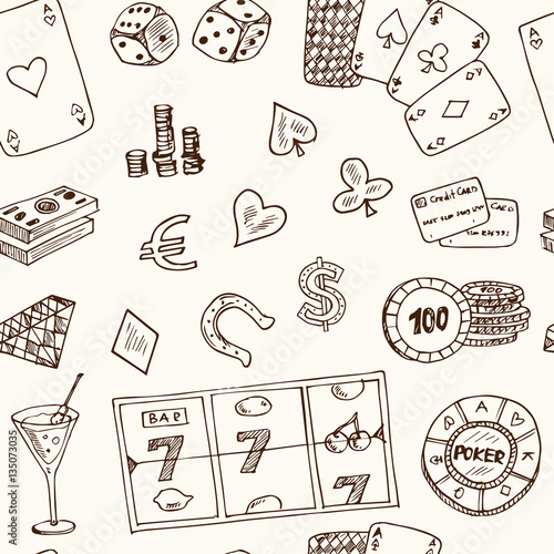 фотография  Hand drawn doodle seamless pattern Casino icons