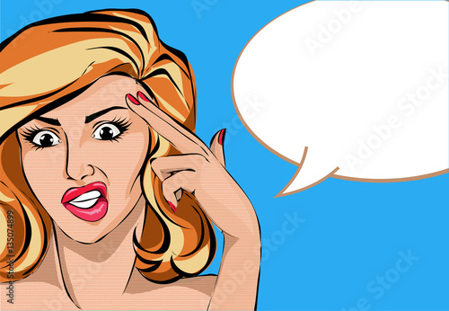 Zdjęcie XXL Pop artu komiks kobieta stylu z palcem gest pistolet, wektor