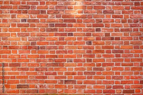 Red brick wall texture grunge background - 135077839