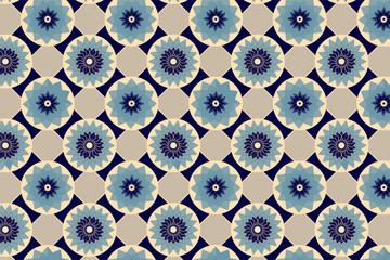Fototapeta Blue and beige seamless abstract floral vintage texture. Vector illustration