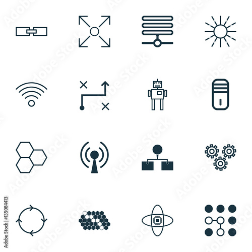 Set Of 16 Robotics Icons Includes Radio Waves Related Information