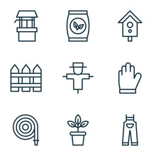 Set Of 9 Holticulture Icons. Includes Garden Clothes, Flowerpot, Birdhouse And Other Symbols. Beautiful Design Elements.