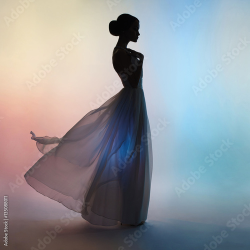 Acrylic Prints womenART Silhouette elegant woman in blowing dress