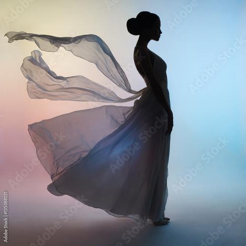 Küchenrückwand aus Glas mit Foto womenART Silhouette elegant woman in blowing dress