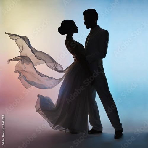Poster womenART Wedding couple silhouette groom and bride on colors background