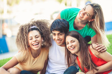 Group Of Happy Teenagers In Th...