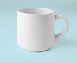 Blank ceramic cup on white background