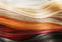 Colorful Hair Background. Hairstyles And Care Concept