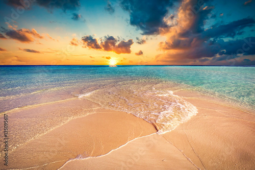 Fotografie, Obraz  Tropical beach with white sand and clear turquoise ocean. Maldiv