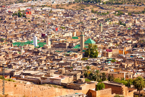 Aerial view of the old Medina in Fez, Morocco (Fez El Bali