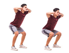 Frog Hops. Young Man Doing Sport Exercise.