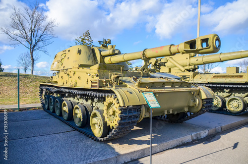 """Poster  On the territory of historical and cultural complex """"Stalin Line"""" near Minsk represented military equipment"""