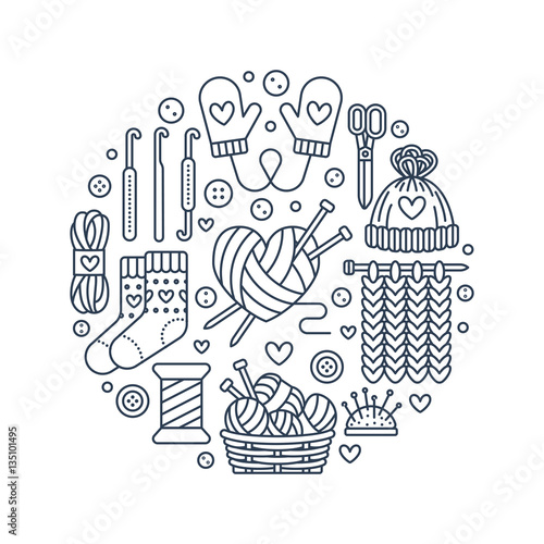 Knitting, crochet, hand made banner illustration. Vector line icon ...