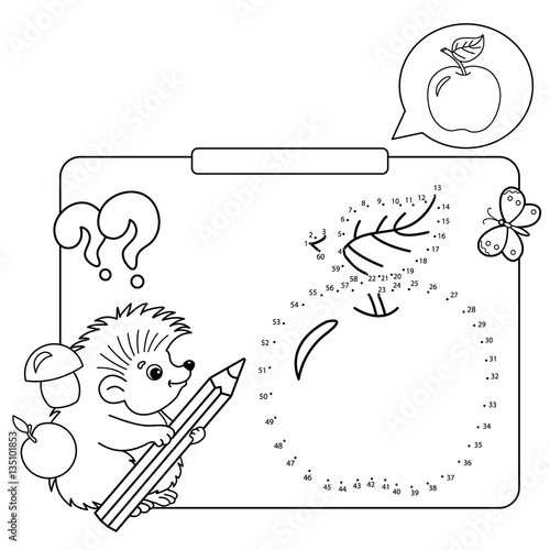 Educational Games For Kids Numbers Game Apple Coloring Page Outline Of Hedgehog With
