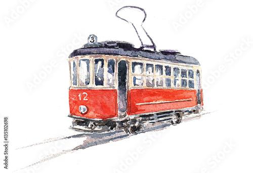 Ретро трамвай. Акварель плакат