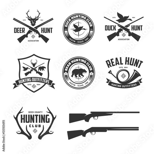 Photo  Set of hunting related labels badges emblems