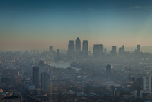 A Morning In London With A View Of Canary Wharf With Smog, Air Pollution