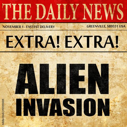 фотография  alien invasion, newspaper article text