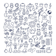 Collection Of Hand Drawn Cute Doodles. Doodle Children Drawing.