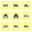 Collection of vector icons and illustration car silhouette