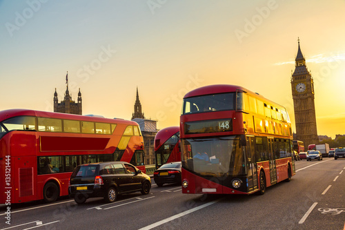 Türaufkleber London roten bus Big Ben, Westminster Bridge, red bus in London