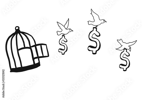 Abstract Hand Draw Doodle Sketch Money Out From Cage By Birds On