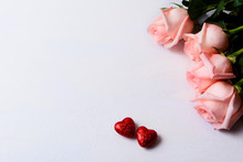 Pale Pink Roses And Red Glitte...