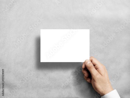 Fotomural Hand holding blank white postcard flyer mockup
