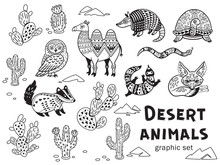 Black And White Set Of Desert Animals